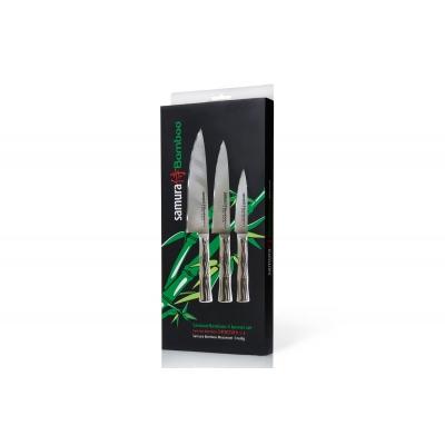 """Набор из 3-х кухонных ножей (овощной, универсальный, Шеф) в подарочной упаковке, """"Samura """"Bamboo"""" (SBA-0220)"""