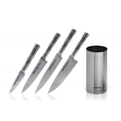 """Набор из 4-х кухонных ножей (овощной, универсальный, для тонкой нарезки, Шеф) и подставки в подарочной коробке, Samura """"Bamboo"""" (SBA-05)"""