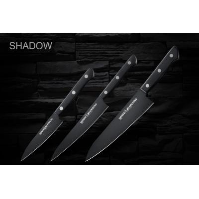 """Набор из 3-х кухонных ножей (овощной, универсальный, Шеф) в подарочной коробке, Samura """"Shadow"""" (SH-0220)"""