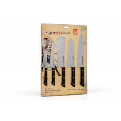 """Набор из 5-ти кухонных ножей (овощной, универсальный, Накири, Шеф, Сантоку), Samura """"Harakiri"""" (SHR-0250B)"""