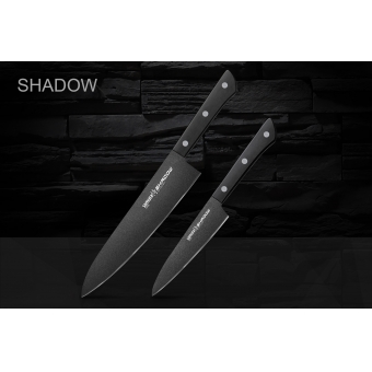 """Набор из 2-х кухонных ножей (универсальный, Шеф) в подарочной коробке, Samura """"Shadow"""" (SH-0210)"""